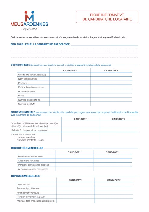 Formulaire candidat Locataire